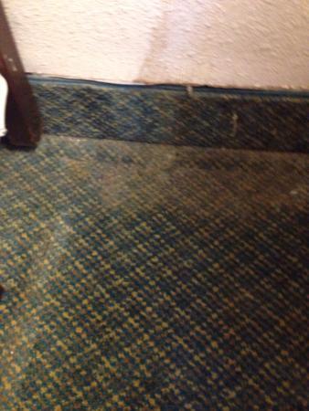 Kiva Hotel Amarillo: Dust bunnies beside bed
