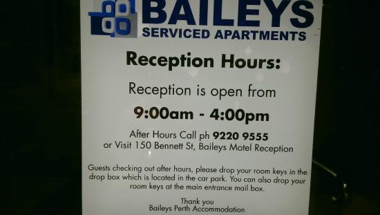 Baileys Serviced Apartments: Remember To Send Them An Email For After Hours  Check In