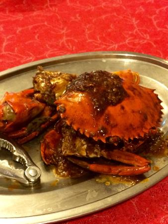 Chili crab, crab delicious but chilli not so good.