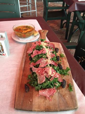 Kelly's: Salad of figs, prosciutto and kale with truffle dressing!  A winner!