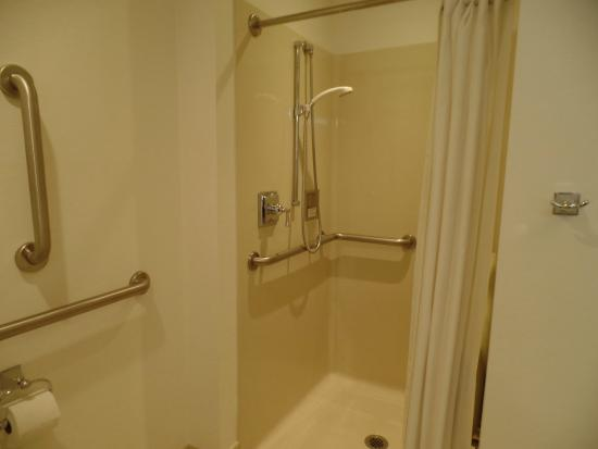 delano las vegas fiberglass shower stall with plastic curtains