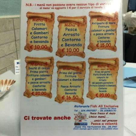 Anzio, Italia: menù