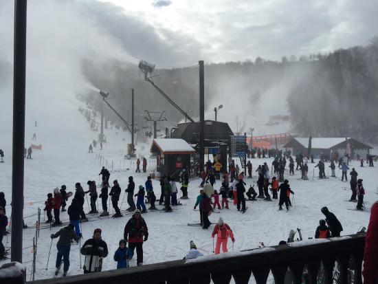 Appalachian Ski Mountain: Base of mountain blowing snow