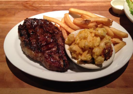 Cheddar S Cheddars Ribeye With Mac And Cheese And Fries