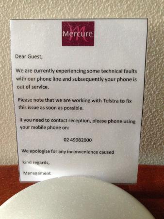 Mercure Resort Hunter Valley Gardens : Telephone not working