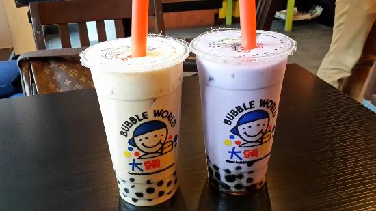 Bubble World Robson: Milk Rose Tea and Taro Milk Tea with Honey Tapioca