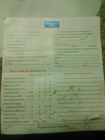 Rodeway Inn: Black mold on comment card.