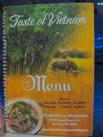 Taste of Vietnam: Menu