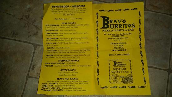 Bravo Burrito: menu