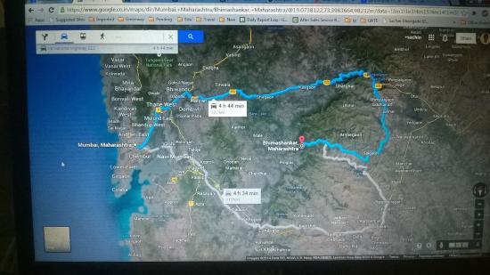 Bhimashankar, الهند: One day road trip map for Mumbai to Bhimashankar