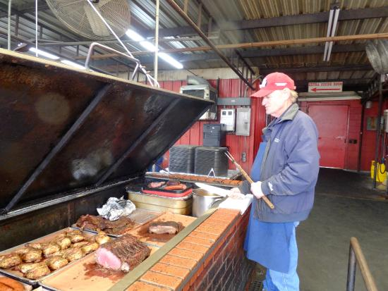 Cooper's Old Time Pit Bar-B-Que: The warming pit where you choose your meats.