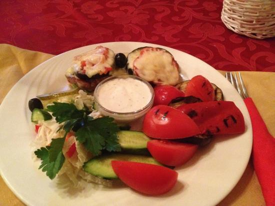 Faeton: #44 Eggplant stuffed pork, plus grilled vegetables