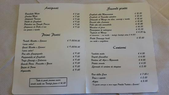Manciano, Italy: menu trattoria da paolino