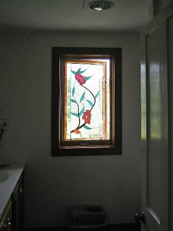 Fairfield, VT: Stained Glass Window in Bathroom