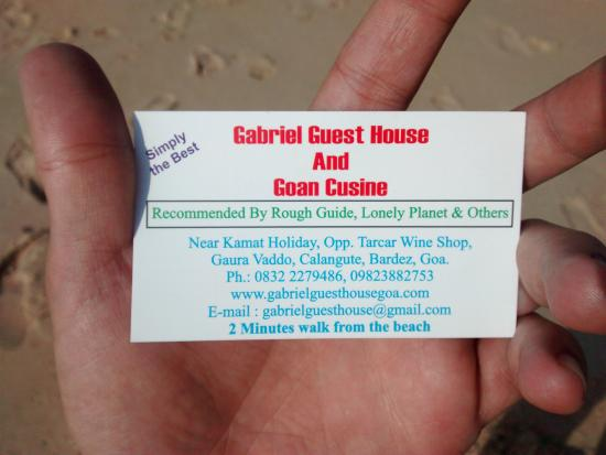 Gabriels Guest House: VISITING CARD