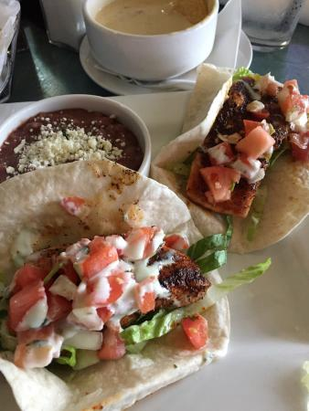 The Blue Cactus Cantina: Wow the salmon tacos are huge and great. Nice value!