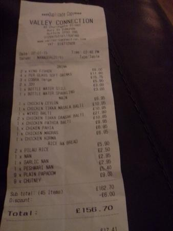 Valley Connection Indian Cuisine: The Bill!