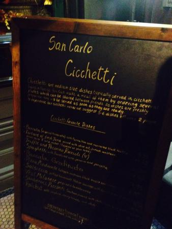 Delicious Menu Picture Of San Carlo Cicchetti Covent