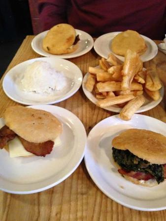 Valencia Luncheria: Arepas - (2) Domingo (spinach, bacon, onion, queso), Chef (Chipotle Jalapeno Cheese Steak) and J