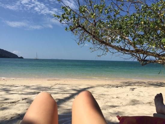Datai, Malaysia: relaxing on the private beach