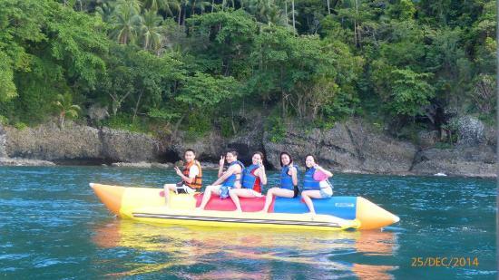On a banana boat ride Picture of Dakak Park Beach Resort