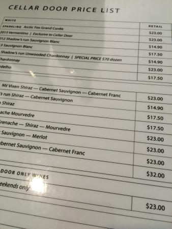 Fox Creek Wines: Very reasonable prices given the high quality