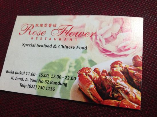 Kartu nama - Picture of Rose Flower Restaurant, Bandung ...