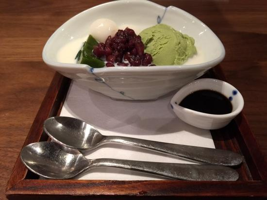 green tea ice cream with red beans rice cake green agar jelly in