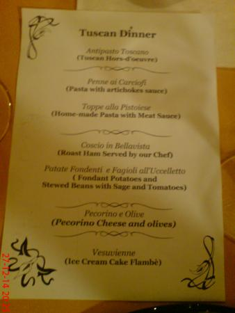Hotel Da Vinci : Christmas Day Menu