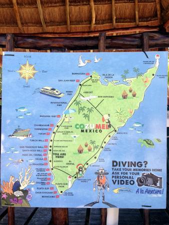 map of cozumels fantastic dive sites hanging at prodive shop