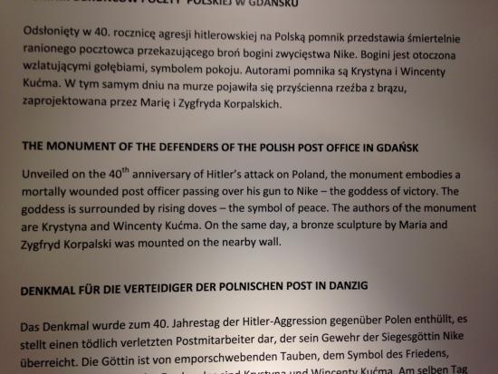 Polish Post Office Museum : Monument Description