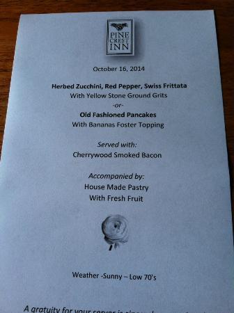 1906 Pine Crest Inn: Sample menu