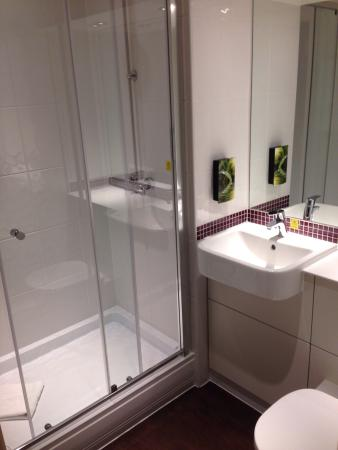 Walk in shower in a small bathroom picture of premier inn london hendon the hyde hotel Premiere bathroom design reviews