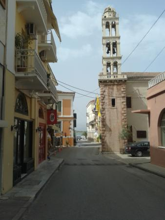 The street (hotel is colourful building in background)