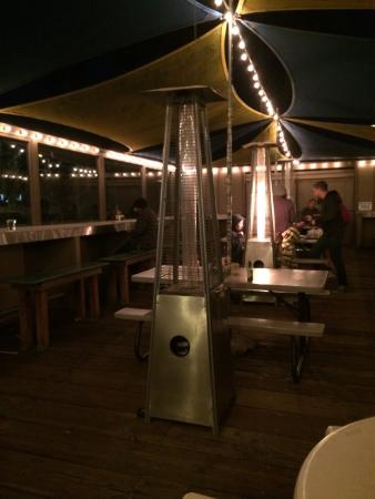 Beach House Tacos: Outside seating at night. Fun!