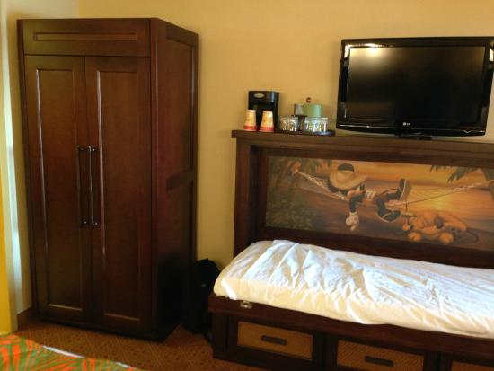 Disneys Caribbean Beach Resort Pull Down Bed And Armoire In Aruba Room