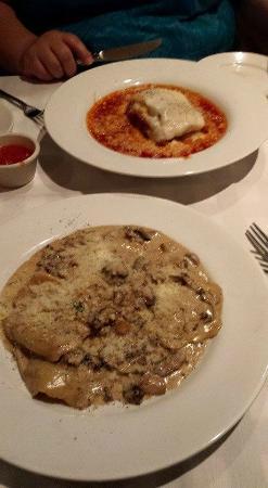 Lasagna and mushroom stuffed ravioli