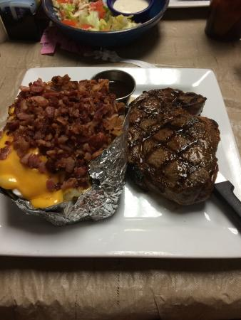 Annie's: Large Sirloin $21.99 and Loaded Baked Potato $4.99 upcharge for steak dinner. Pricey but easily