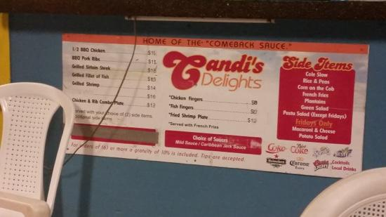 Candi's Barbecue : menu not showing fish specials and burgers