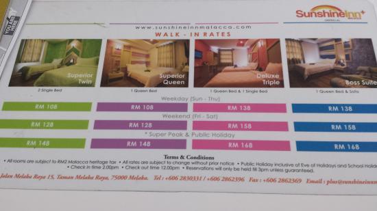 Sunshine Inn: Promotion Room Rates