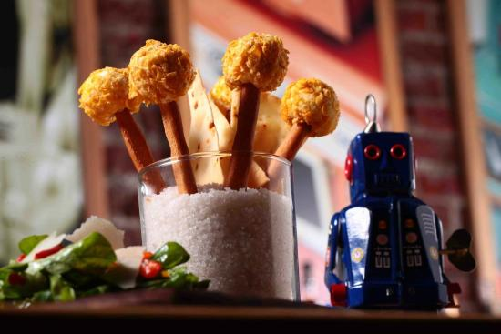 Brewbot Eatery & Pub Brewery: Divine goat cheese lollipops with an jalapenos and date!
