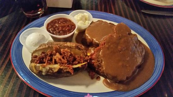 Toby Keith's I Love This Bar & Grill: Meat Loaf and Gravy with Baked Beans and a Bacon Baked Potatoe
