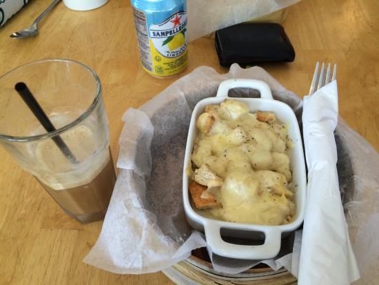 Cafe Moka: Breakfast Casserole. Iced Macchiato.  My 5 year old even ate her whole breakfast!
