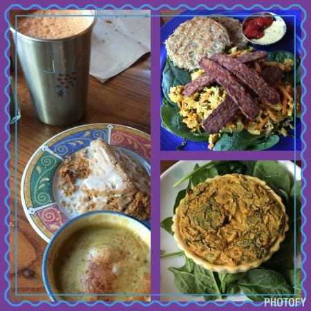 Chaco Canyon Cafe: Immune Boost, Gingerbread Scone, Hot Apple Cider, Tempeh Bacon & Scramble, and the Eggless Mushr