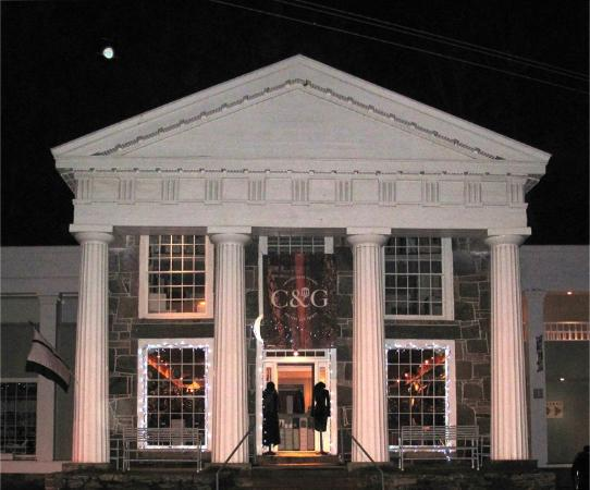 Chester, CT: Our Landmark building with its winter lights!