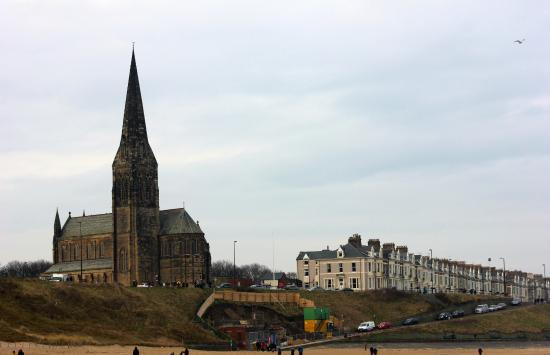 Long Sands Beach: North views of St George's Church, Cullercoats