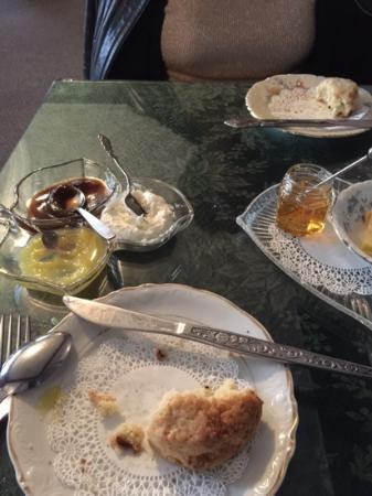 Royal Tea Room: scones with lemon curd,apple butter, cream chees