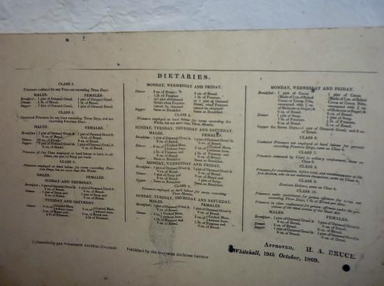 Beaumaris Gaol: The prison menu - lots of oatmeal gruel, bread and potato, not much else!