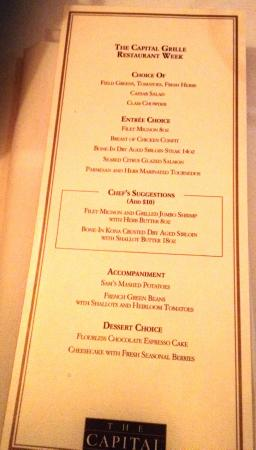 Restaurant Week October 2014 Menu Picture Of The Capital