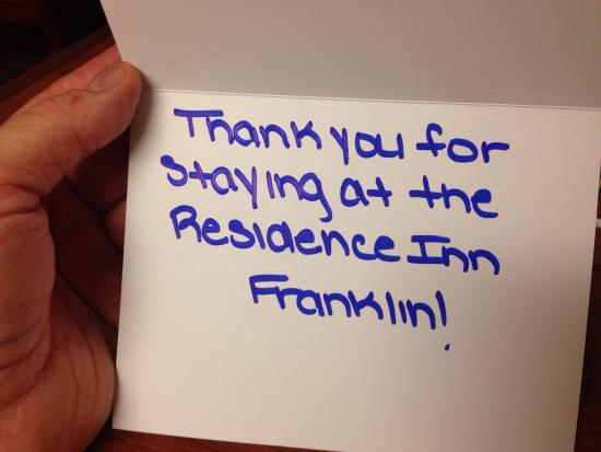 Residence Inn Boston Franklin: Nice touch
